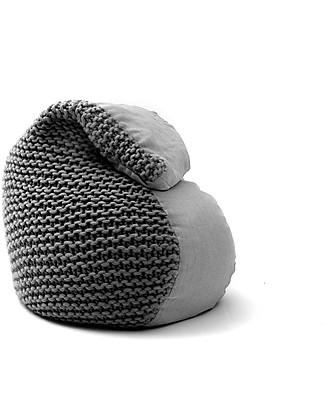 Cocò&Design Sacco Pouf Bimbi Nuvolana, Gelso Scuro - 80×60x20 cm - Lana, lino e farro bio Cuscini Arredo