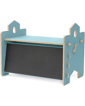 Cocò&Design Scrivania Lavagna Rigo, Azzurro Gelso - 90x53x50 cm - Legno di pioppo Tavoli