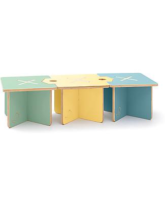 Cocò&Design Set da 3 Sgabello e Tavolino Modulare Lapo, Azzurro/Giallo/Verde - 120x40x30 cm - Legno di pioppo Sedie