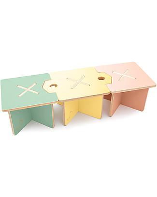 Cocò&Design Set da 3 Sgabello e Tavolino Modulare Lapo, Rosa/Giallo/Verde - 120x40x30 cm - Legno di pioppo Sedie
