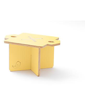 Cocò&Design Sgabello e Tavolino Modulare Lapo, Giallo Pera - 40x40x30 cm - Legno di pioppo null