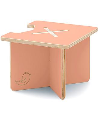 Cocò&Design Sgabello e Tavolino Modulare Lapo, Rosa Pesca - 40x40x30 cm - Legno di pioppo null