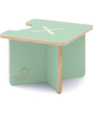Cocò&Design Sgabello e Tavolino Modulare Lapo, Verde Mela - 40x40x30 cm - Legno di pioppo Sedie