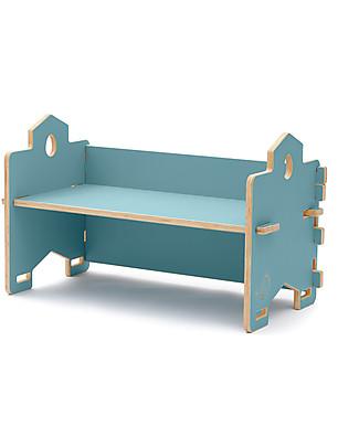 Cocò&Design Panca Libreria Impilabile Cecco, Azzurro Gelso - 82×40x30 cm - Legno di pioppo Librerie