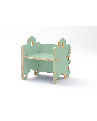 Cocò&Design Poltroncina Libreria Impilabile Bice, Verde Mela - 45x45x30 cm - Legno di pioppo Librerie