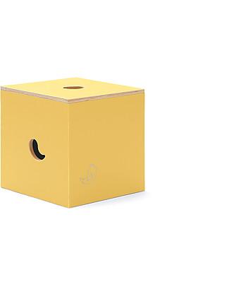 Cocò&Design Sedia e Box Contenitore Duccio, Giallo Pera - 40x40x40 cm - Legno di pioppo null