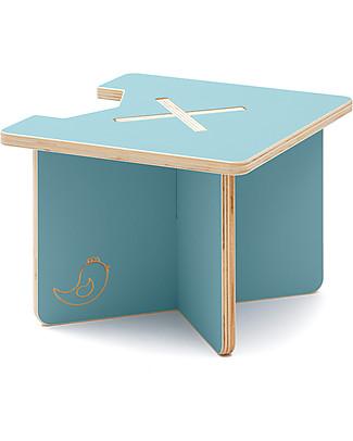 Cocò&Design Sgabello e Tavolino Modulare Lapo, Azzurro Gelso - 40x40x30 cm - Legno di pioppo null