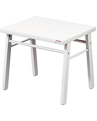 Combelle Scrivania per Bambini in Legno di Faggio, Bianco – Facilissima da montare Tavoli