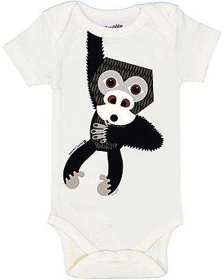 Coq en Pâte Body Maniche Corte Gorilla, Azzurro - 100% jersey di cotone bio Body Manica Corta
