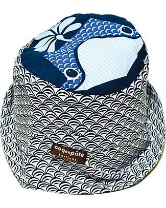 Coq en Pâte Cappellino Stampa Balena, Blu - 100% Cotone Bio Cappelli