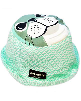 Coq en Pâte Cappellino Stampa Foca, Verde Acqua - 100% Cotone Bio Cappelli Estivi