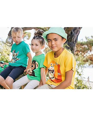 Coq en Pâte Cappellino Stampa Mandrillo, Azzurro - 100% Cotone Bio Cappelli Estivi