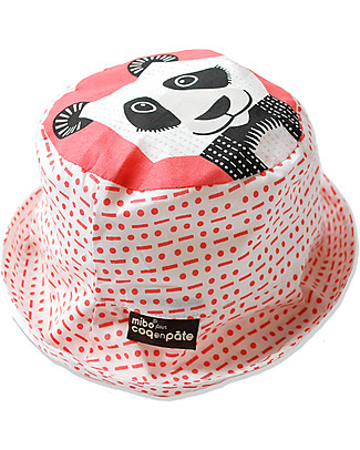 Coq en Pâte Cappellino Stampa Panda, Rosa - 100% Cotone Bio Cappelli