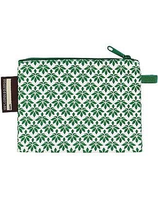 Coq en Pâte Portamonete Tigre, Verde - 100% Cotone Bio Certificato! - (10 x 13 cm) Portamonete