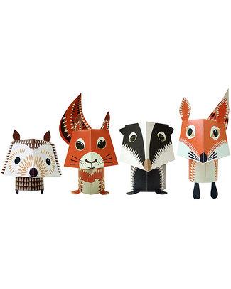 Coq en Pâte Set di 4 Animali di carta da costruire - Forest Family - 100% Carta Riciclata! Carta e Cartone