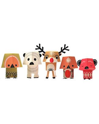 Coq en Pâte Set di 5 Animali di Carta da costruire - Christmas Creatures - 100% Carta Riciclata! Carta e Cartone