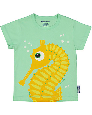 Coq en Pâte T-Shirt Cavalluccio Marino, Verde Mela - 100% Cotone Bio T-Shirt e Canotte