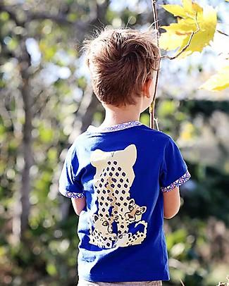 Coq en Pâte T-Shirt Ghepardo, Blu - 100% Cotone Bio T-Shirt e Canotte