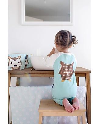 Coq en Pâte T-Shirt Maniche Lunghe Raglan Riccio, Azzurro Ghiaccio - 100% Cotone Bio T-Shirt e Canotte