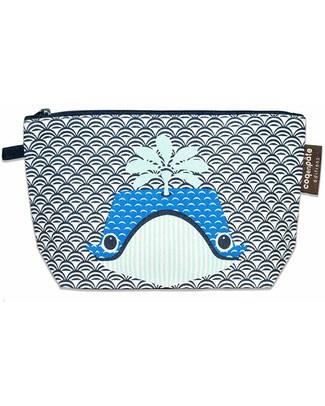 Coq en Pâte Whale Blue Pencil Case/Pouch - 100% Organic Cotton Canvas Pencil Cases