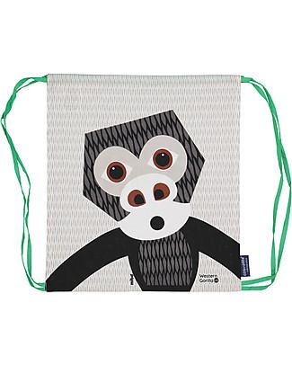 Coq en Pâte Zainetto Morbido Gorilla, Bianco - 100% Cotone Bio - Perfetto per l'asilo! (37 x 33 cm) Zainetti