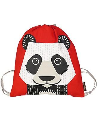 Coq en Pâte Zainetto Morbido Panda, Rosso - 100% Cotone Bio - Perfetto per l'asilo! (37 x 33 cm) Zainetti