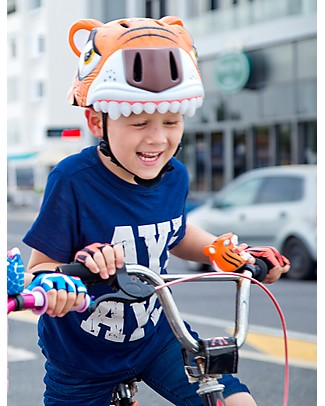 Crazy Safety Casco Bicicletta Bambino, Tigre Arancione - Colorato, Leggero e Indistruttibile! Biciclette