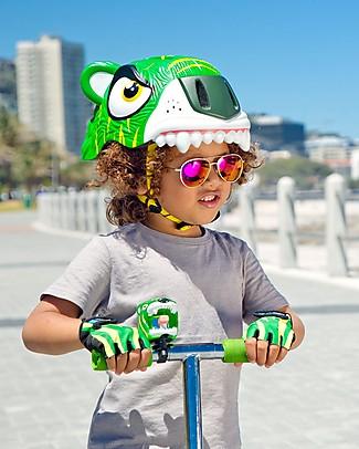 Crazy Safety Casco Bicicletta Bambino, Tigre Verde - Colorato, Leggero e Indistruttibile! Biciclette