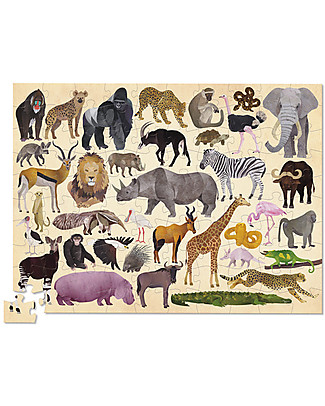 Crocodile Creek 100piece Puzzle in Canister with 36 Wonderful Wild Animals! Puzzles