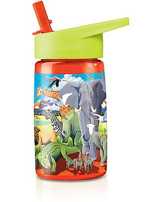 Crocodile Creek Borraccia per Bambini in Tritan 500 ml, Safari - Riciclabile e Sicura! Borracce senza BPA