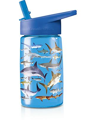 Crocodile Creek Borraccia per Bambini in Tritan 500 ml, Squali - Riciclabile e Sicura! Borracce senza BPA