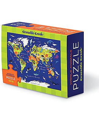 Crocodile Creek Mini-Puzzle, Mondo e i suoi Animali– 100 pezzi! Puzzle