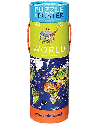 Crocodile Creek Puzzle (200 Pezzi) e Poster - Mappa del Mondo e i suoi Animali Puzzle