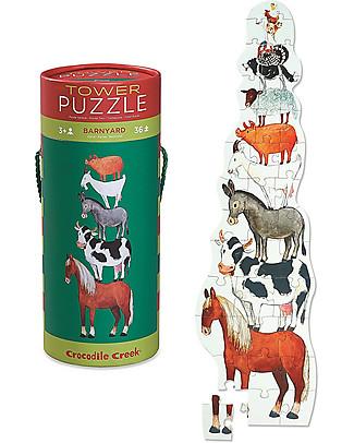 Crocodile Creek Puzzle 36 Pezzi in Tubo, Fattoria - Una Torre di Animali! Puzzle