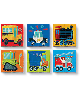 Crocodile Creek Puzzle a Blocchi, Veicoli: Trenino, Camion, Polizia e Pompieri! - 4 pezzi Giochi Creativi