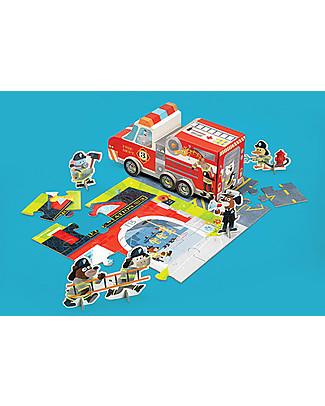 Crocodile Creek Puzzle e Gioco 3-in-1, Stazione dei Pompieri - 48 pezzi! Puzzle
