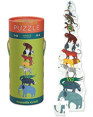 Crocodile Creek Puzzle Torre 36 Pezzi in Tubo, Giungla - Una Torre di Animali! Puzzle