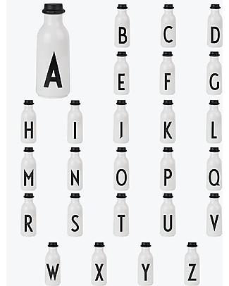 """Design Letters & Friends Bottiglia in Plastica con Lettera, 500 ml, A -Z Collezione """"AJ Vintage ABC"""" by Arne Jacobsen Borracce senza BPA"""