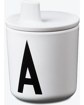 Design Letters & Friends Tappo con Beccuccio per Tazza con Lettera, Bianco - Sippy Cap, facile da usare per i bimbi più piccoli Tazze e Bicchieri