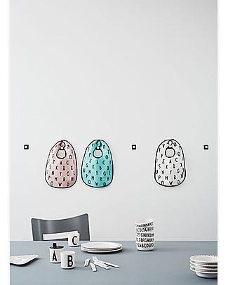 """Design Letters & Friends Bavaglino Alfabeto, Turchese – Collezione """"AJ Vintage ABC"""" by Arne Jacobsen Bavagli Classici"""