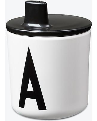 Design Letters & Friends Tappo con Beccuccio per Tazza con Lettera, Nero – Sippy Cap, facile da usare per i bimbi più piccoli Tazze e Bicchieri