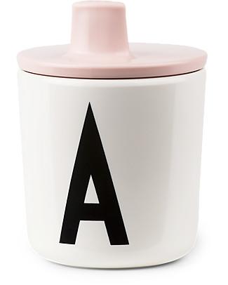 Design Letters & Friends Tappo con Beccuccio per Tazza in Plastica con Lettera, Rosa – Sippy Cap, facile da usare per i bimbi più piccoli Tazze e Bicchieri