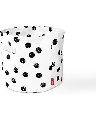 Deuz Contenitore Portagiochi – Pois Neri – 100% Cotone Bio (30 cm Ø x 25 cm) Contenitori Porta Giochi
