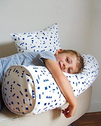 Deuz Cuscino Lungo in Tela di Cotone Bio, Forme Blu - 20,3 x 66 cm Cuscini