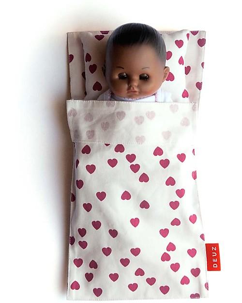 Deuz Lettino per Bambola Mini Kit Dodo, Cuori Fucsia - Cotone Bio Case delle Bambole