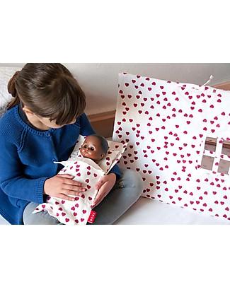 Deuz Lettino per Bambola Mini Kit Dodo, Cuori Fucsia - Cotone Bio Giochi Per Inventare Storie