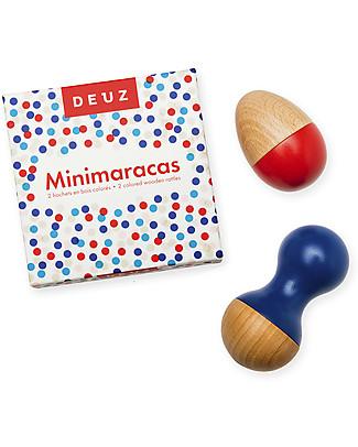 Deuz Minimaracas Set 2 Sonagli, Marin - Legno naturale vernice atossica Giochi Di Una Volta