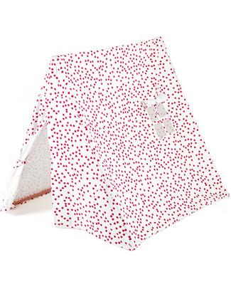 Deuz Tenda Gioco da Campeggio - Cotone Bio - Rosso Lampone - 1m x 1m x 1m Tende Gioco