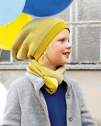 Disana Cappellino Extra long, Giallo Curry Melange - 100% lana merino Cappelli