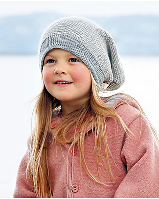 Disana Cappellino Extra long, Grigio Melange - 100% lana merino Cappelli